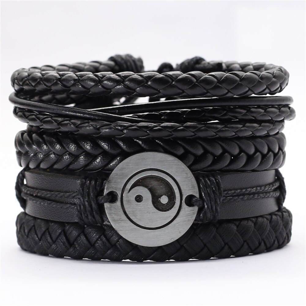 Pulseras Taichi de plumas negras para hombres 5 unids/set pulsera de moda brazalete de cuerda brazalete de cuero pulseras de Mujer Accesorios de joyería