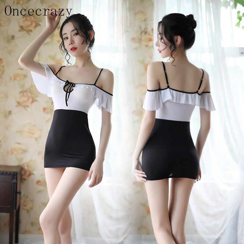 Oncecrazy Sexy lingerie women's sexy transparent hollow straps strapless temptation color matching d