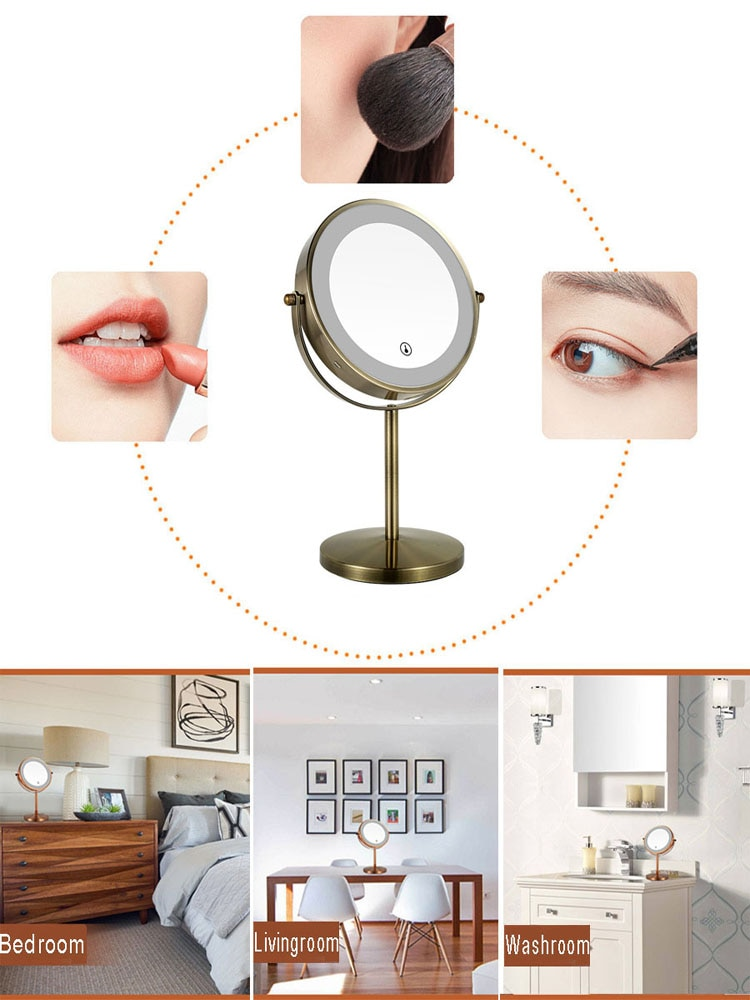 Double Sided Vanity Mirror with Light, 10X Magnifying LED Makeup Mirror, Touch Dimmer, Tabletop Mirror, USB Rechargeable