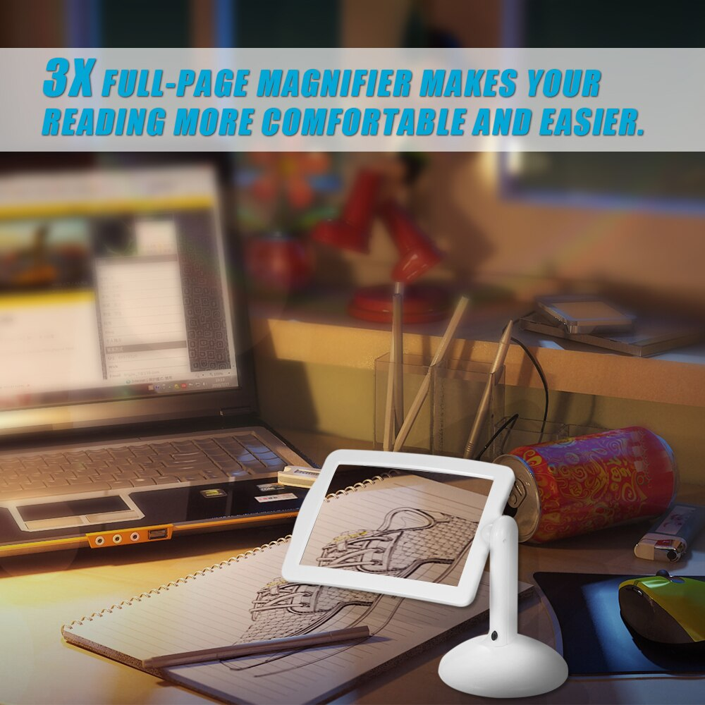 360 Degrees Rotate Magnifier 3X Reading Full Page Magnifying Glass Handsfree Loupe Table Magnifier Lamp with 2 Led Lights