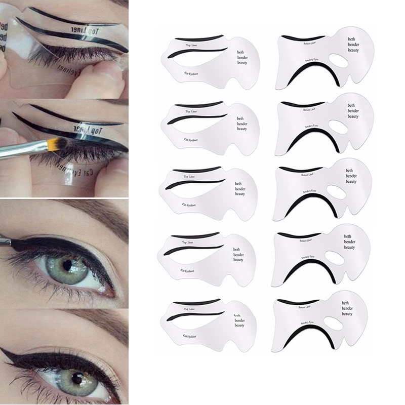 10 pçs eyeliner sombra de olho estênceis alado delineador estêncil modelos modelo de modelagem ferramentas sobrancelhas modelo cartão de maquiagem ferramenta