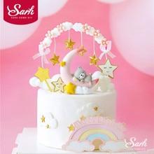 Décoration arc de gâteau avec pompon étoile   Ours lune ange licorne, décorations pour réception-cadeaux pour bébé, fournitures de pâtisserie pour fête danniversaire pour enfant, cadeaux damour
