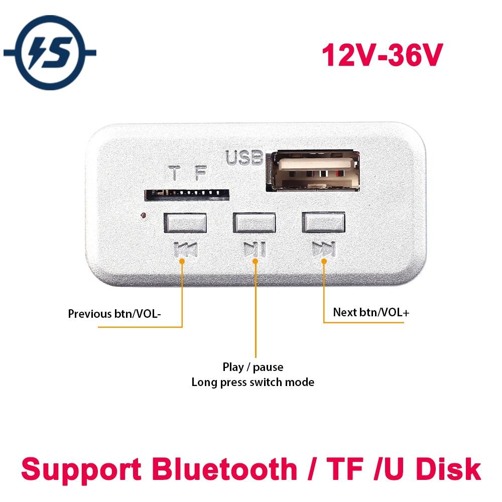 Mini AMPLIFICADOR DE POTENCIA DE PLACA decodificadora MP3 Bluetooth para TF/U Disk 12 V/24 V/36 V de un solo canal 3W