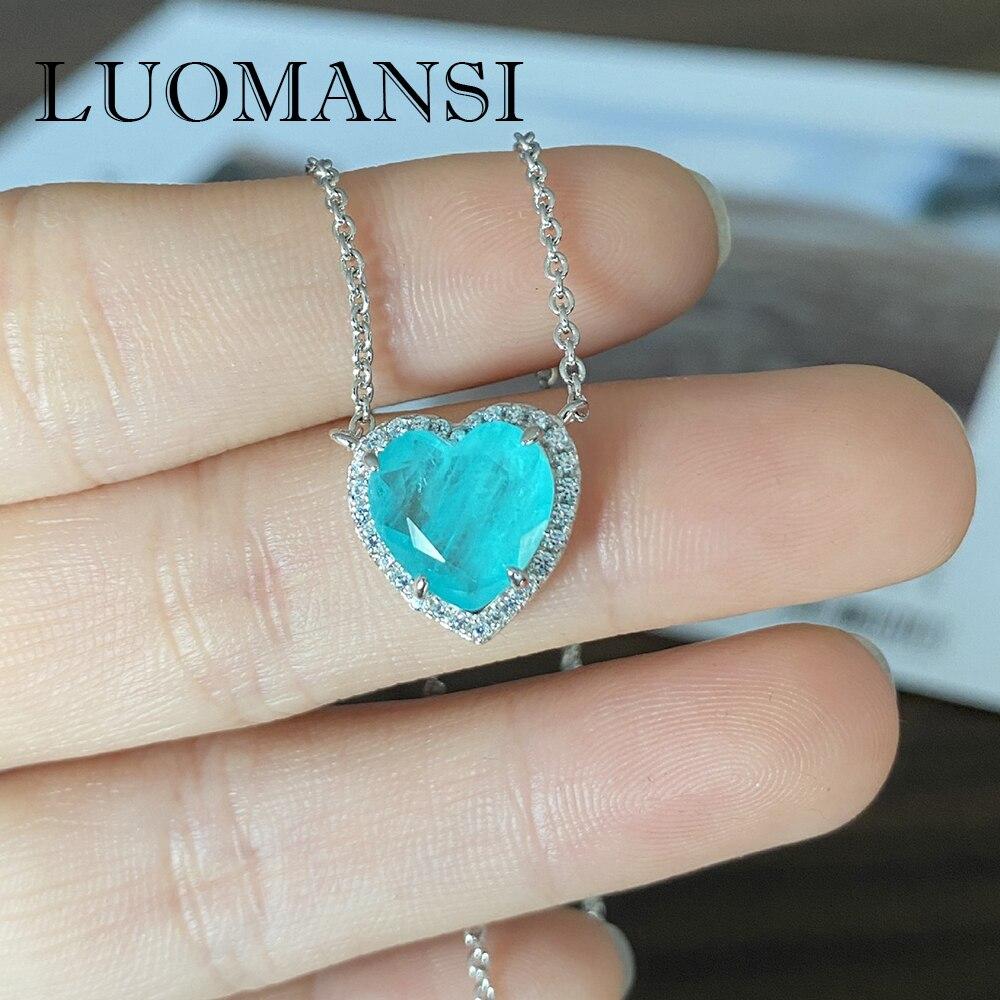 Luomansi-قلادة تورمالين على شكل قلب للنساء ، قلادة من الفضة الإسترليني عيار 100% ، مجوهرات الذكرى السنوية للحفلات