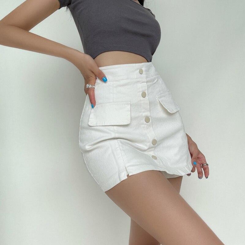 TVVOVVIN الأمريكية مثير نحيل الورك زر تنورة صغيرة عالية الخصر ضئيلة تنورة الدنيم المرأة جيب الكورية Skorts النساء GK90