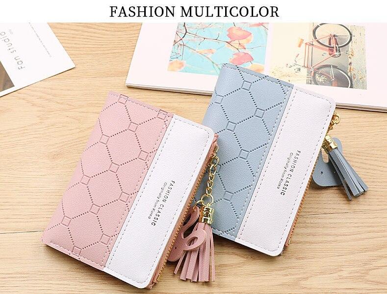 New Style Wallet Ladies Short Embossed Contrast Color Korean Student Wallet Tassel Zipper Multi-card Coin Purse Card Holder недорого