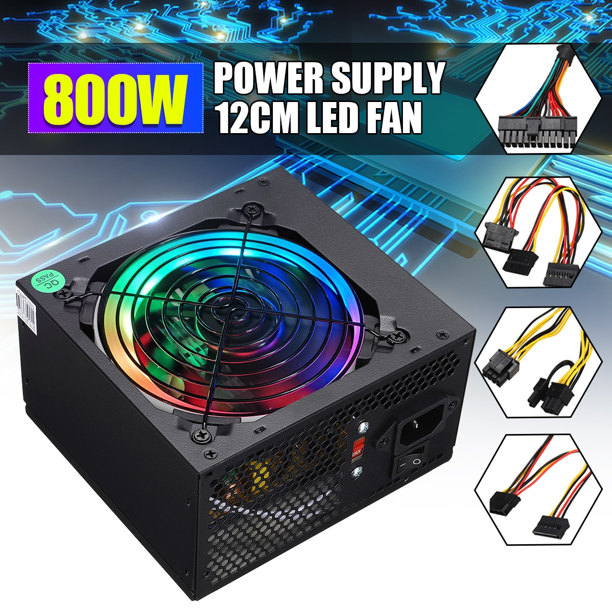 Max 800W Power Supply PSU PFC LED Silent Fan ATX 24pin 12V PC Computer SATA Gaming PC Power Supply For Intel AMD Computer
