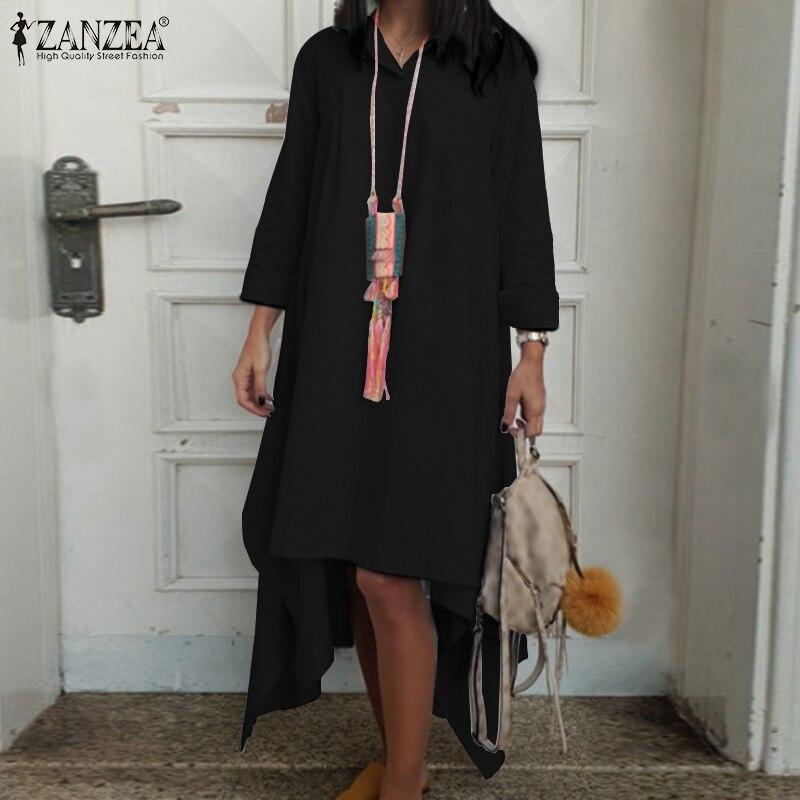 2020 zanzea moda camisa de manga larga Vestido de otoño sólido Partido Sundress mujeres Casual algodón irregular Vestido Famele Kaftan Robe