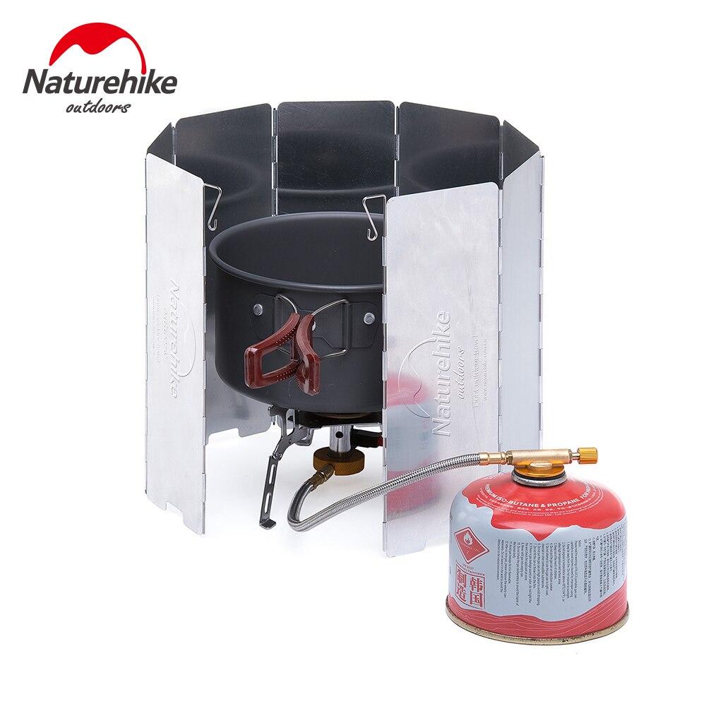 Naturhike estufa de Camping Protector resistente parabrisas para Picnic estufa 8 piezas 0,2 kg plegable equipo de cocina a prueba de viento a prueba de pantalla