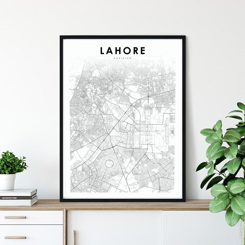 Punjab de Lahore, mapa de la ciudad, póster de lona blanco y negro, impresiones de arte de pared, cuadro decorativo nórdico, decoración moderna del hogar de Pakistán