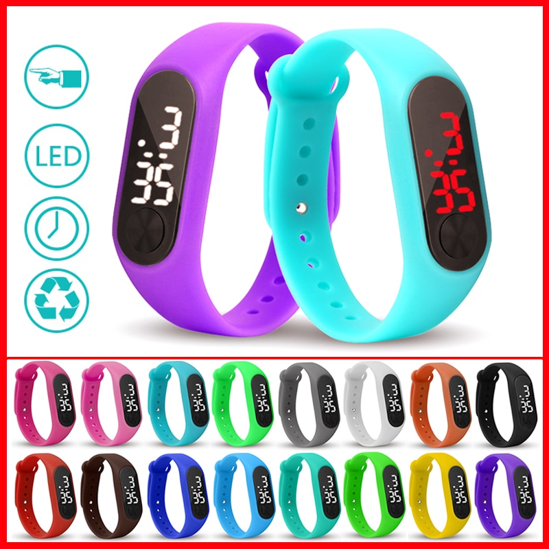 Reloj Led de deporte niños, Reloj de pulsera de poliuretano para hombres y mujeres, Reloj de pulsera electrónico para niños y niñas, Reloj Digital, Reloj para niños