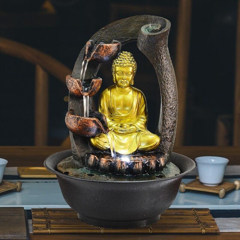 Estatua de Buda hecha a mano fuentes decorativas para interiores fuentes de agua resina regalos Feng Shui escritorio hogar fuente 110V 220V