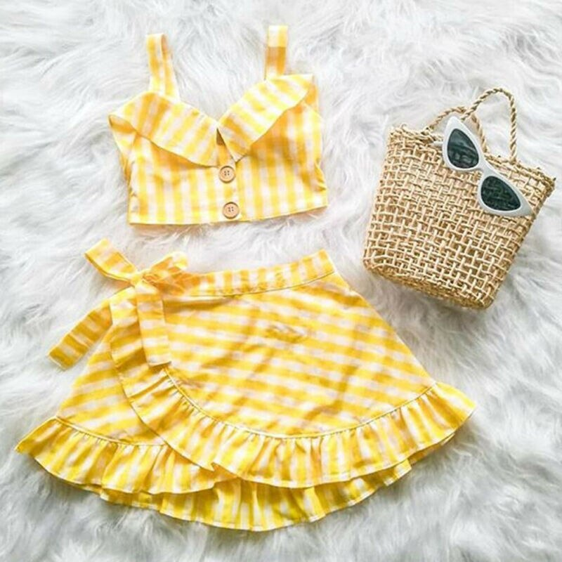Ropa de verano para bebé, ropa de chico cuadros de niña, chaleco, Top corto sin hombros, Camisa + falda Irregular, conjunto de 2 uds.