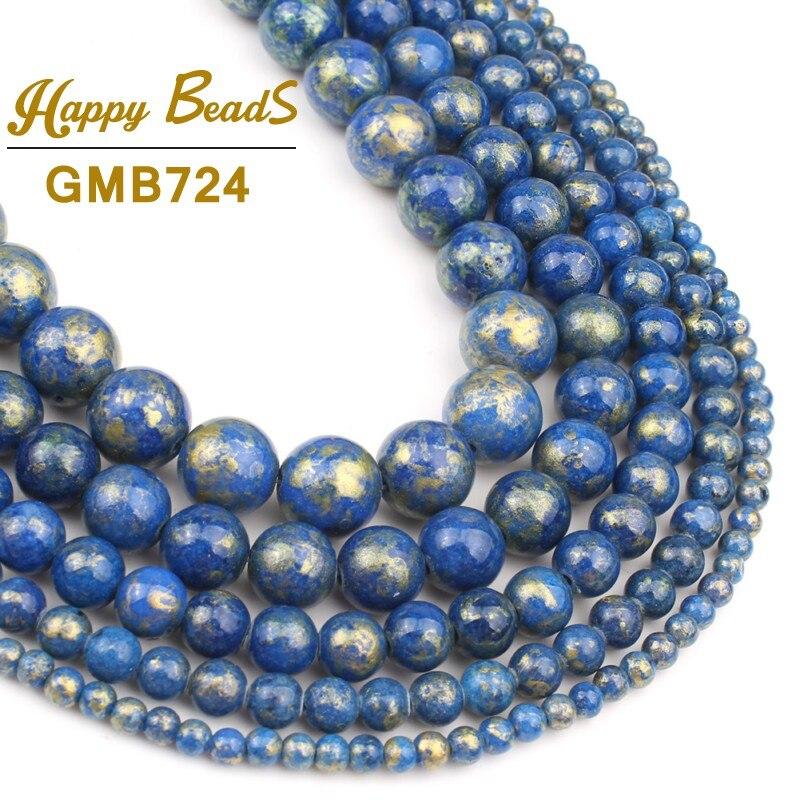 Lapislázuli Color Jades cuentas de piedra redonda cuentas sueltas para la fabricación de joyas cuentas de piedra Natural Diy oreja Stud pulsera 4 /6/8/10/12m
