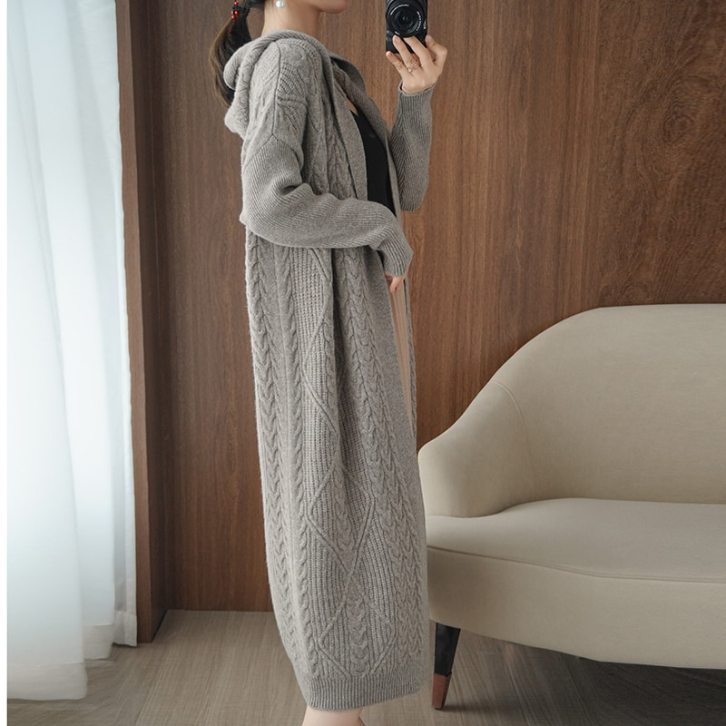 winter women thick wool long coat cardigan sweater women hooded full sleeves casual jacket warm knitted outerwear plus size enlarge