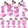 12pcs 32inch 핑크 블루 생일 디지털 풍선 미키 미니 호 일 풍선 어린이 생일 파티 라텍스 ballon 1 2 3 4 5