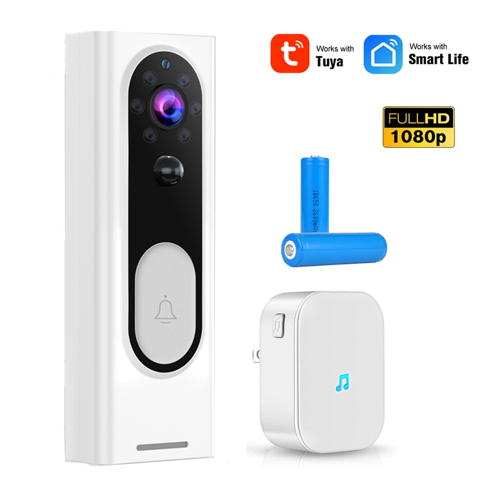 Tuya WIFI timbre 1080P cámara de seguridad inalámbrica HD Video Audio intercomunicador puerta alarma inteligente nube servicio campana Cámara