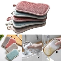 510pcs double sided scouring pad for kitchen reusable cleaning magic sponge cloth multifunctional household washing accessories