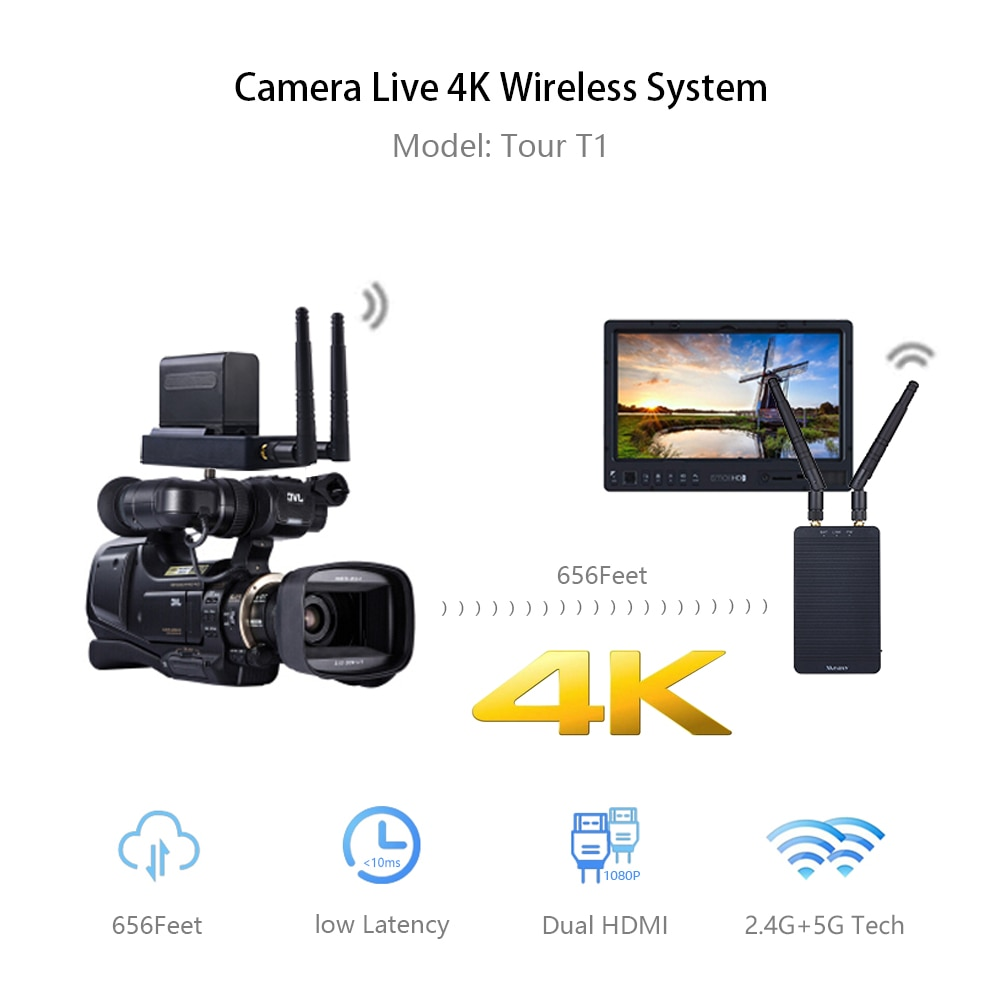 Measy Tour-جهاز إرسال فيديو لاسلكي صغير T1 ، 4K ، 5G ، HD ، HDMI ، للتصوير الفوتوغرافي والفيديو ، Youtube ، VS 400S
