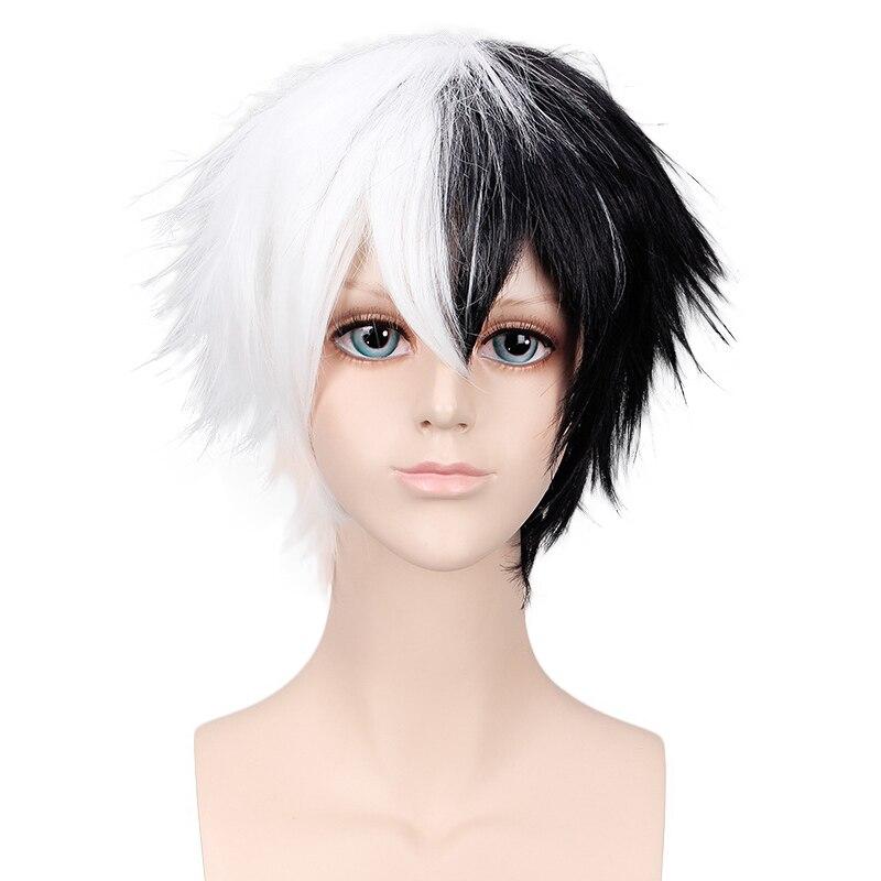 Danganronpa Monokuma White Black Short Wig Cosplay Costume Dangan Ronpa Heat Resistant Synthetic Hair Men Women Cosplay Wigs