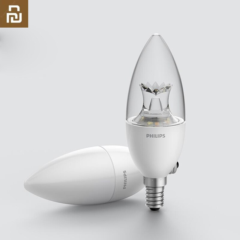 Lámpara LED Original Philips con forma de vela inteligente E14 bombilla blanca 3,5 W 0.1A 220-240V 50/60Hz Control remoto Wifi para Mi aplicación para hogares