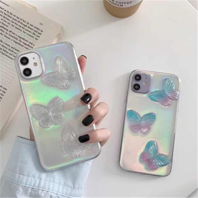 Laser Butterfly Pattern Creative Phone Case for  IPhone 11 12 Pro Max 8 7 6 6s Plus Xr XsMax X Xs SE DIY Phone Case Coquille