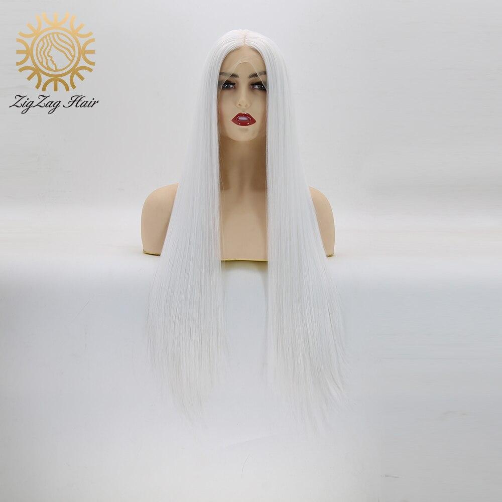 ZigZag peluca blanca de platino recta sin pegamento pelucas frontales de encaje sintético para mujeres blancas resistente al calor de fibra de pelo largo peluca Cosplay