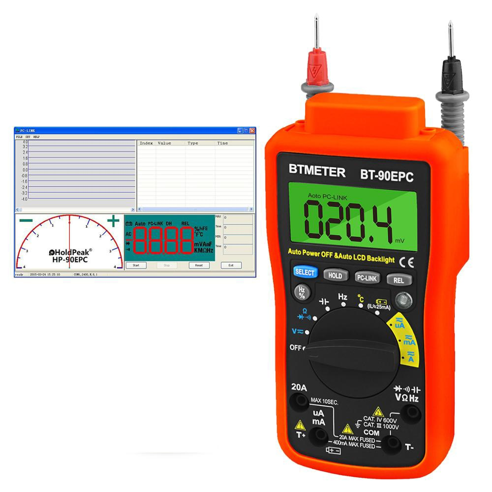 رقمي متعدد BT-90EPC السيارات المدى avmeter DMM 4000 التهم مع USB PC-Link ، التيار المتناوب و تيار مستمر الجهد الحالي السيارات الخلفية/انقطاع التيار الكهربائ...