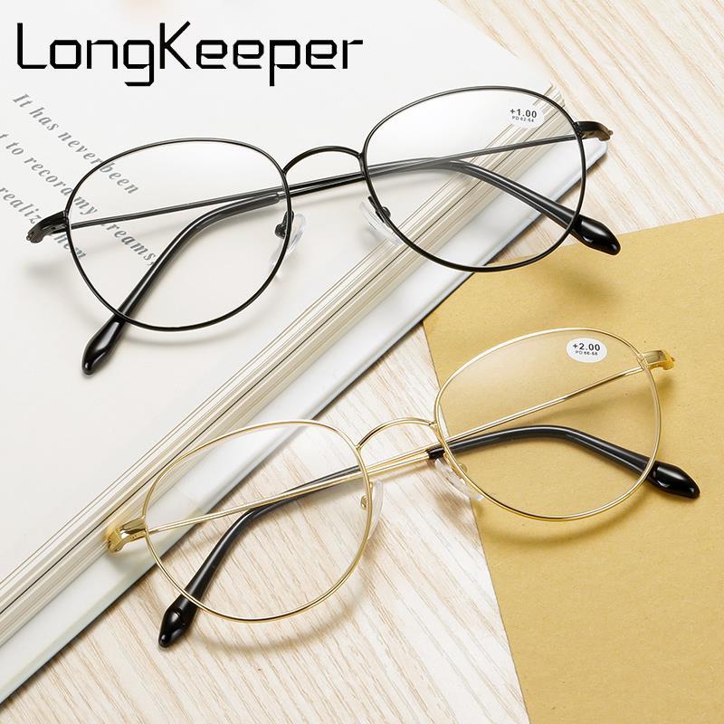 Gafas de lectura redondas LongKeeper, gafas para presbicia con montura de Metal a la moda para hombre y mujer, gafas Unisex con cristales transparentes dorados y plateados