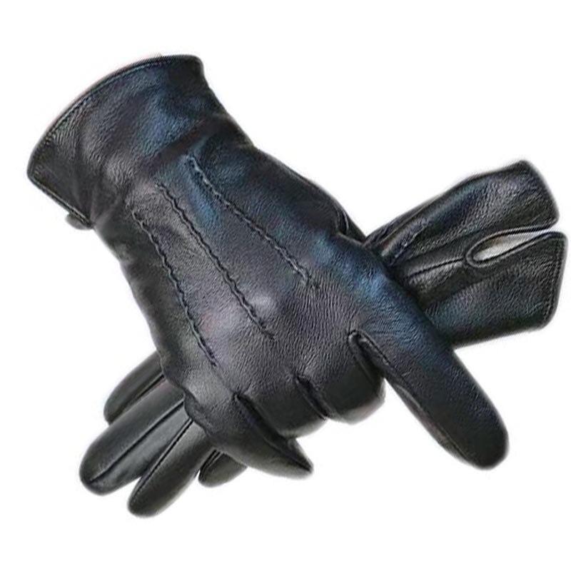 Перчатки зимние мужские перчатки Новые перчатки из овчины кожаные модные зимние уличные кожаные перчатки для вождения Бесплатная доставка...