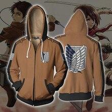 Sudadera con capucha de Anime, chaqueta de Cosplay ataque a los titanes, Top con cremallera, Levy Ackerman