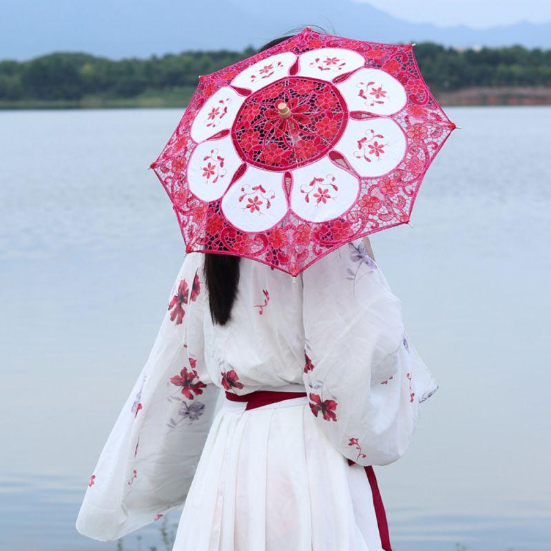 Mini Bamboo Cloth Umbrella Wedding Home Decoration Small Children Gift Dancing Umbrella Wood Handle Chinese Craft Cosplay Props