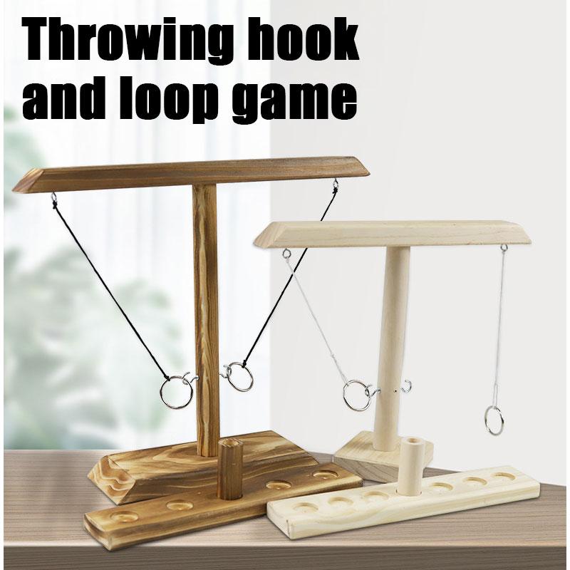 Настольная игра, деревянное кольцо, крючки для бросания, съемные портативные деревянные кольца для настольных игр, развлекательные крючки