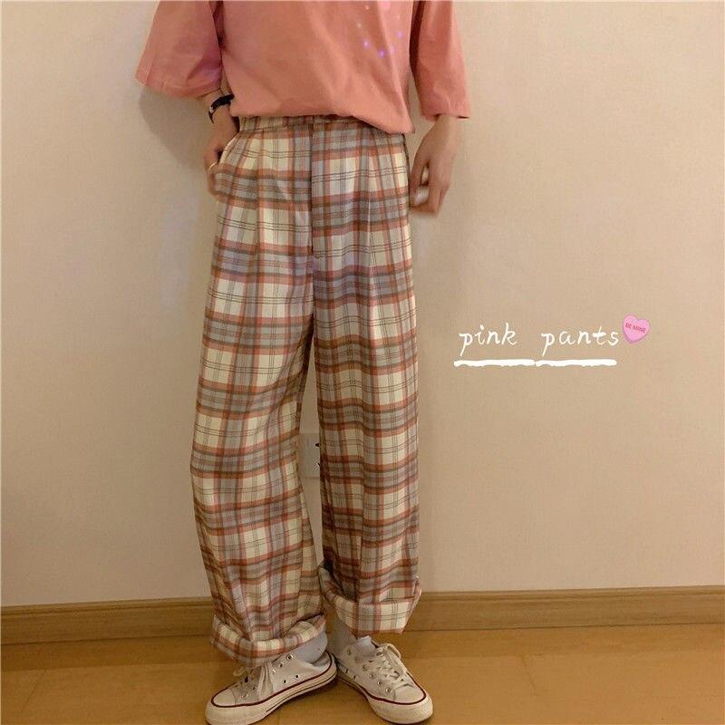 Женские клетчатые брюки HOUZHOU, модные клетчатые брюки в Корейском стиле размера плюс, широкие брюки в клетку для девочек