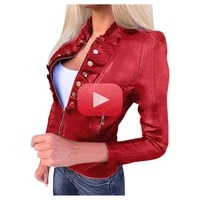 womens coat new autumn short pu motorcycle clothes highlight the figure top slim leather jacket