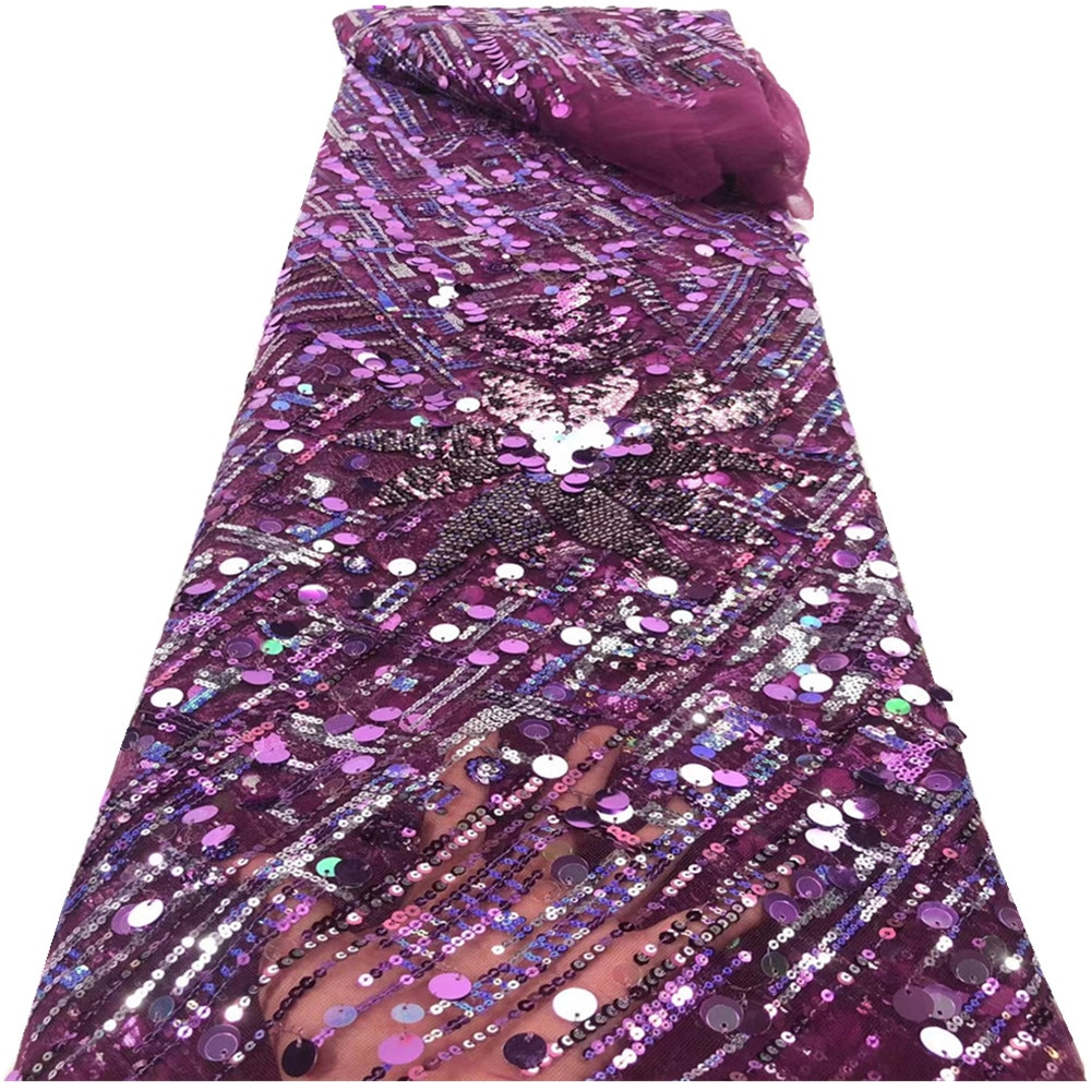 African Lace Fabric High Quality with Sequins 5 Yards French Net Nigerian Fabrics for Sewing Wedding Dress RF-225