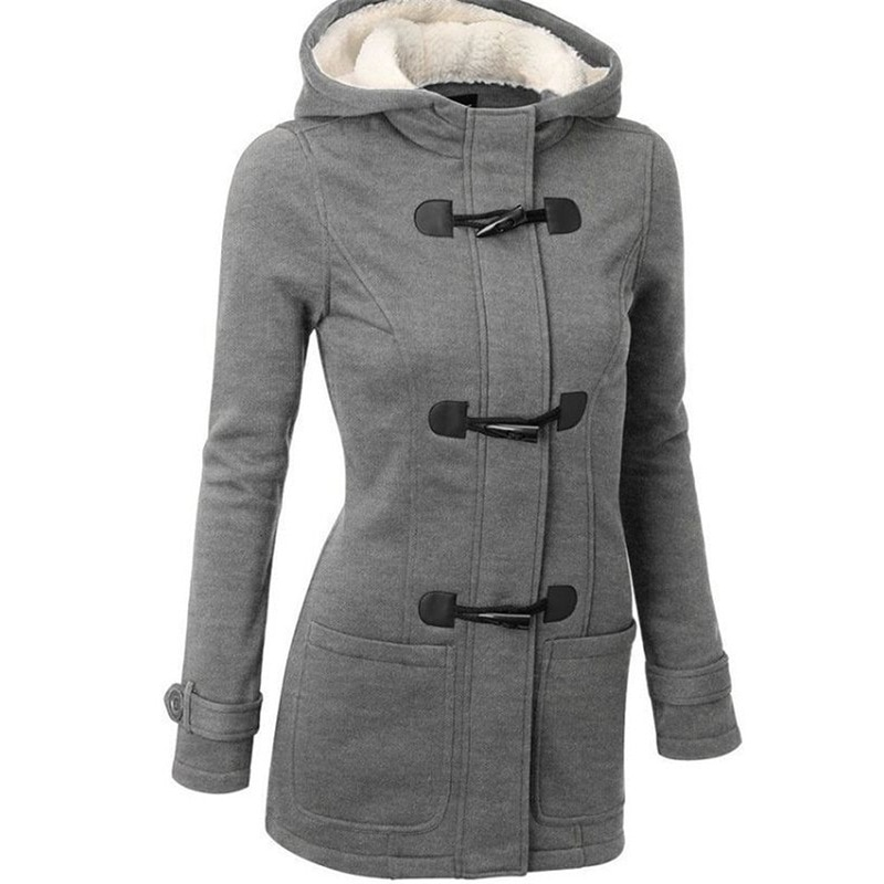 2020 Casual Women Trench Coat Autumn Zipper Hooded Coat Female Long Trench Coat Horn Button Outwear