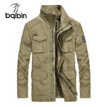 Quality Brand Cargo Military Jacket Men Autumn Winter Cotton Multi-pocket Outwear Army Mid-long Coat