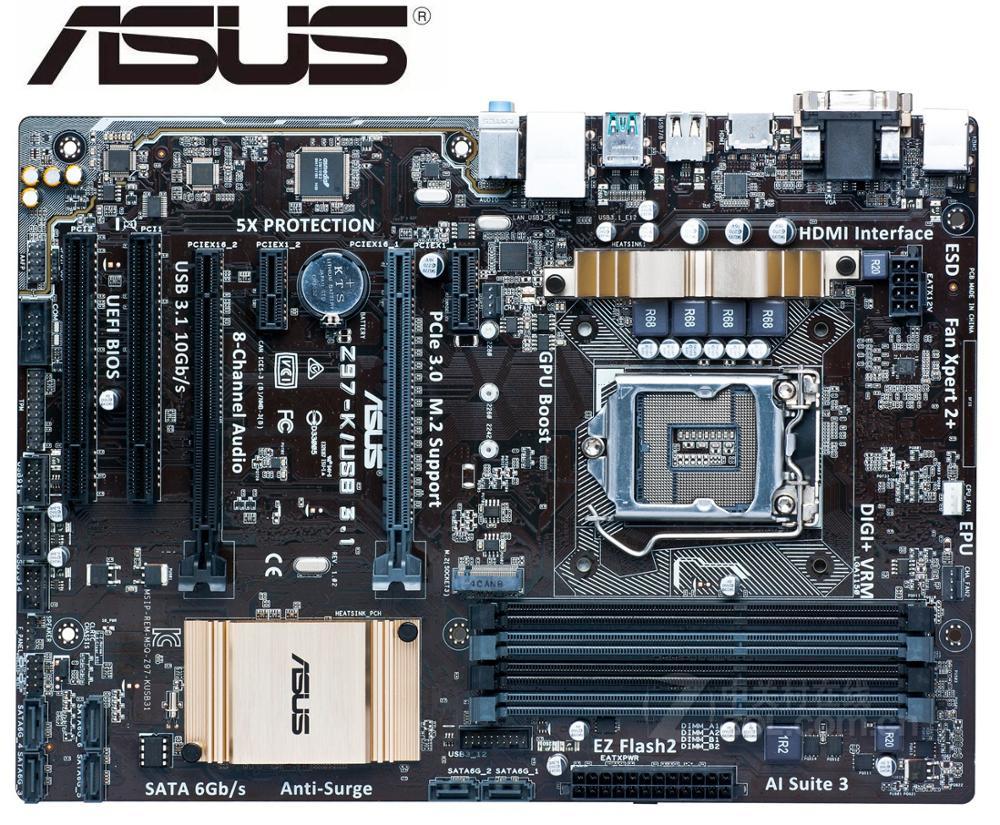 Asus-placa base de escritorio Z97-K/USB3.1, usada, LGA 1150, DDR3, SATA3, USB 3,0,...