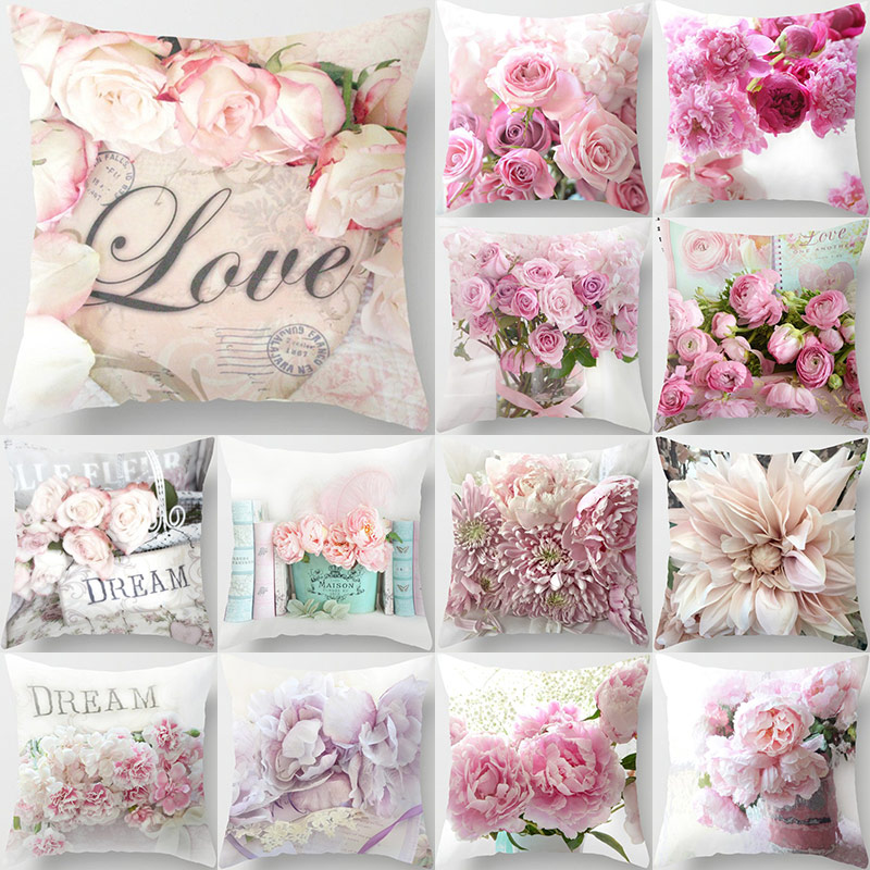 45*45cm Rose Flowers Cushion Cover Nordic Style Home Wedding Decoration Throw Pillow For Sofa Bed Ca