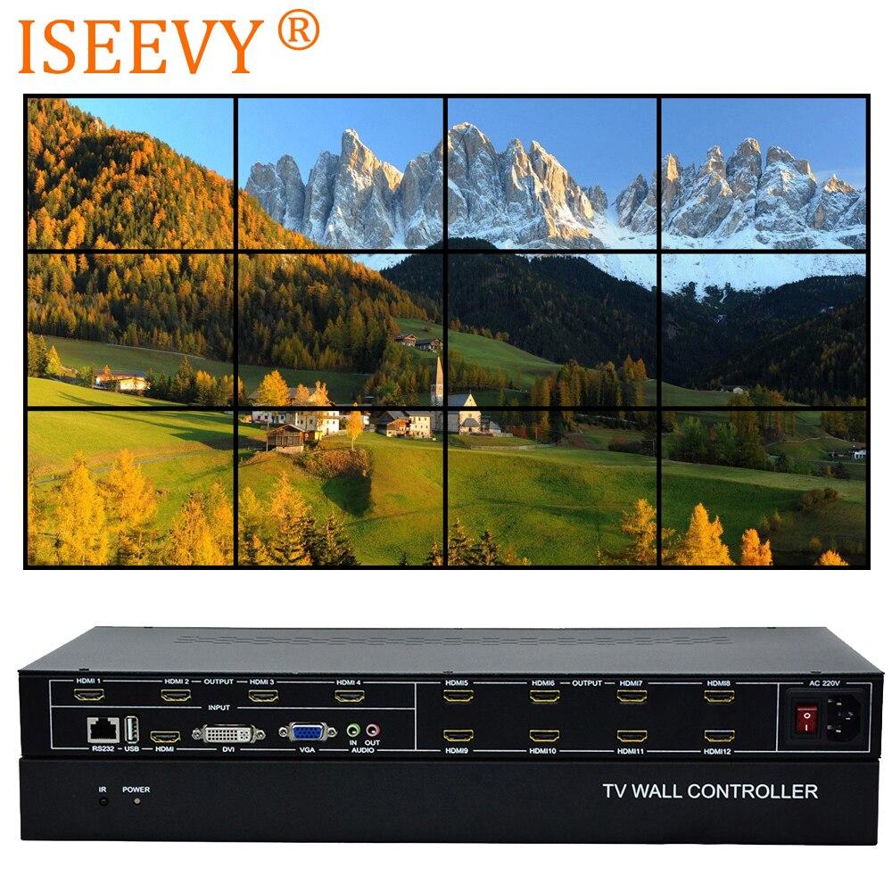 ISEEVY 12 canales de vídeo controlador de pared 3x4 HDMI DVI VGA USB procesador de vídeo con Control RS232 para 12 empalme de TV