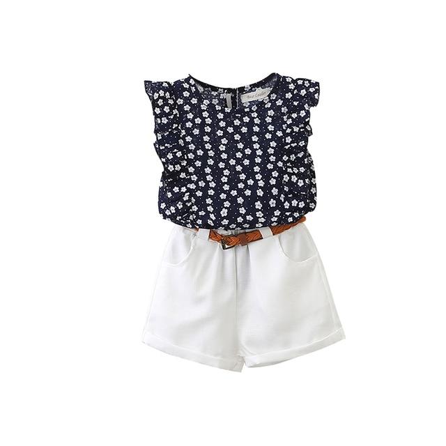 2PCS Cute Girls Sets Clothes Summer Floral Children Clothing Sleeveless T-shirt+Shorts Kids Suit Fashion 3-7T Children Clothes 10