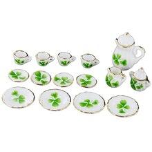 Juego de té de porcelana en miniatura para comedor de casa de muñecas 1/12 juego de 15 tazas de diseño de trébol