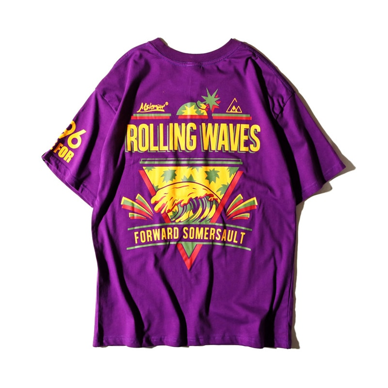 2019 verano ropa urbana Tops camisetas púrpura camiseta Hip Hop Rolling Wave piña imprimir camisa hombres 90 algodón camiseta harajuku