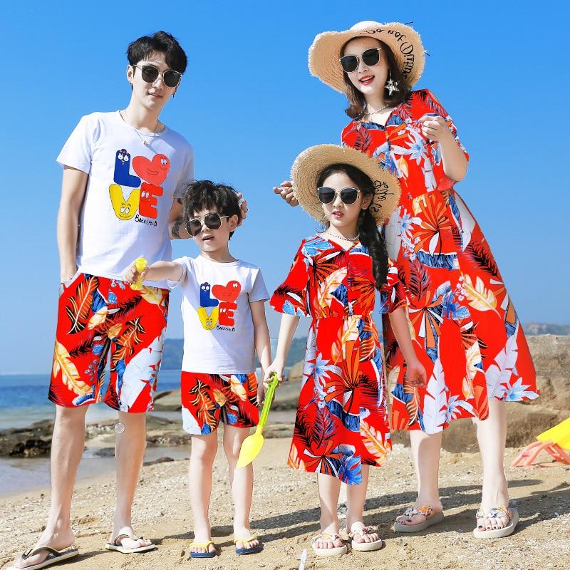 Nuevo traje a juego de playa para madre e hija de algodón/vestido para madre e hija conjunto de ropa para padre e hijo conjunto de estilo para toda la familia 3XL