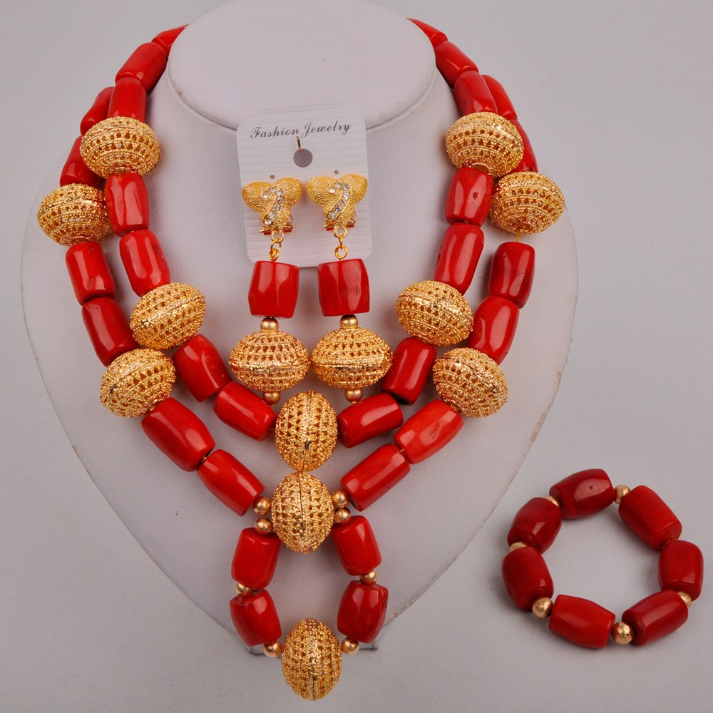 Fashion Red African Coral Beads Necklace Set Nigerian Wedding African Beads Jewelry Set Coral Beaded Bridal Set Women