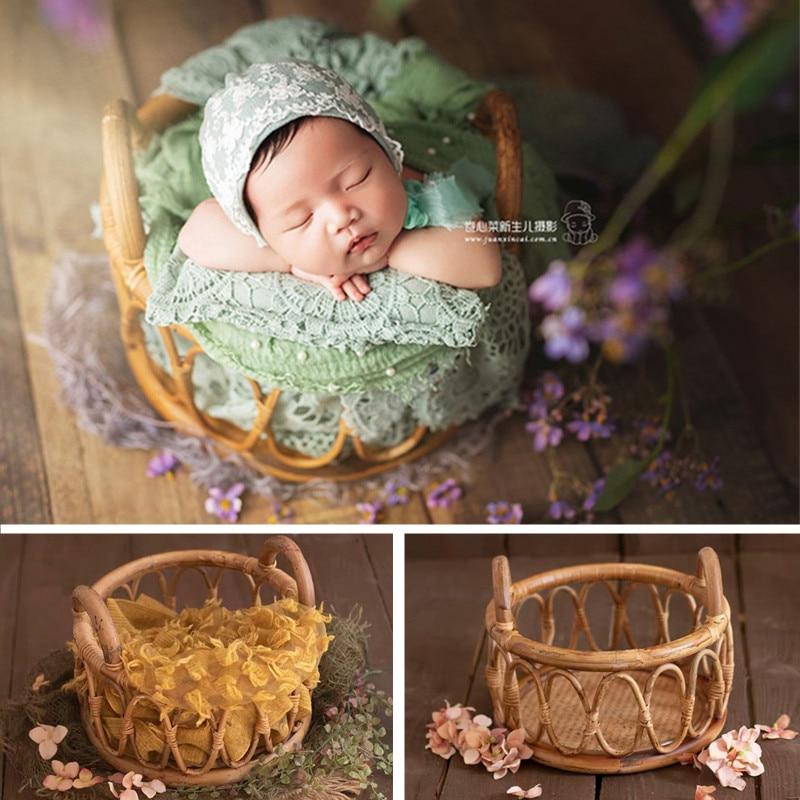 Newborn Photography Props Girl Round Vine Woven Basket Baby Photo Shoot Chair Bebe Poser Bed Studio Fotografie Accessories