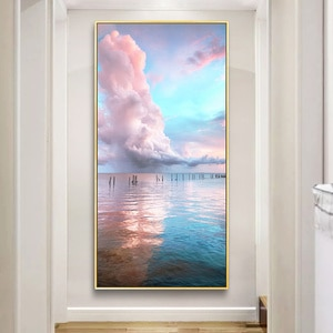 Simple northern Europe pink sea white cloud porch sitting room study corridor mural poster print canvas decorative picture