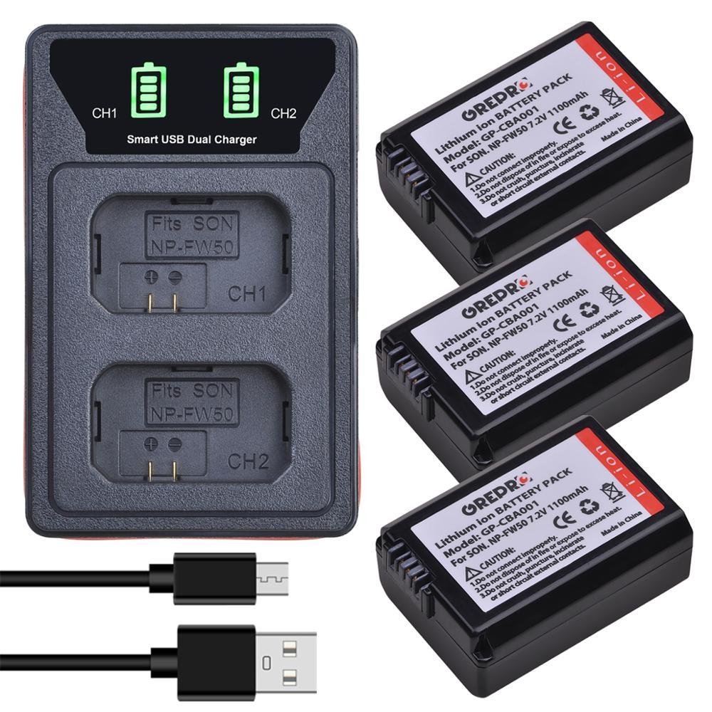 3 uds NP-FW50 NP FW50 batería + LED USB y tipo-C para...