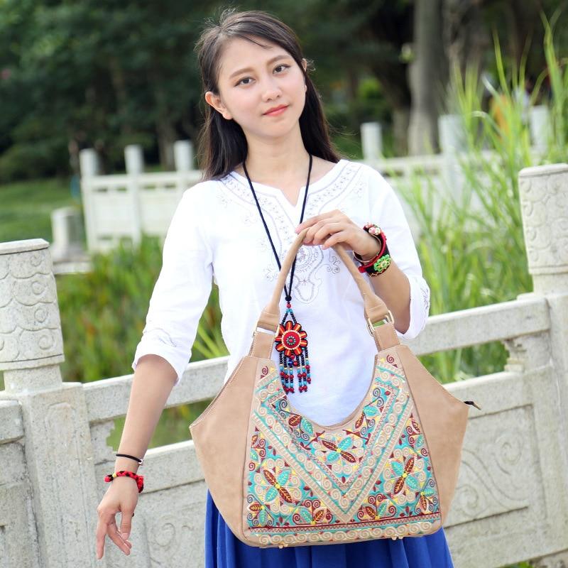Bolsos de mano para mujer de piel sintética de estilo étnico, bolsa impermeable, bolso bordado de Bangkok, envío gratis, equipaje de moda